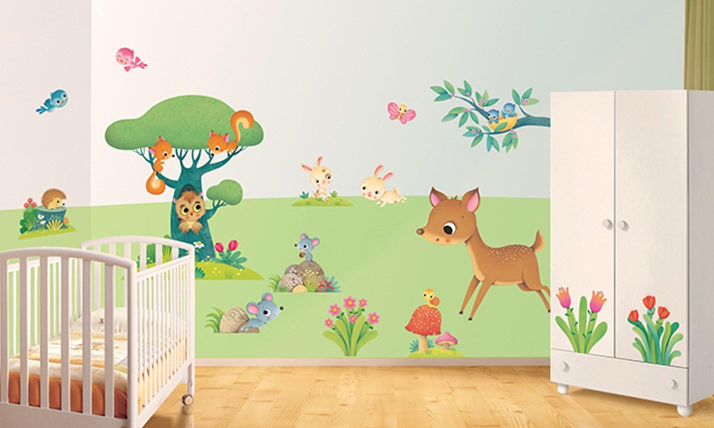 Stickers murali bambini cameretta gli amici della foresta leostickers - Camerette bambini neonati ...